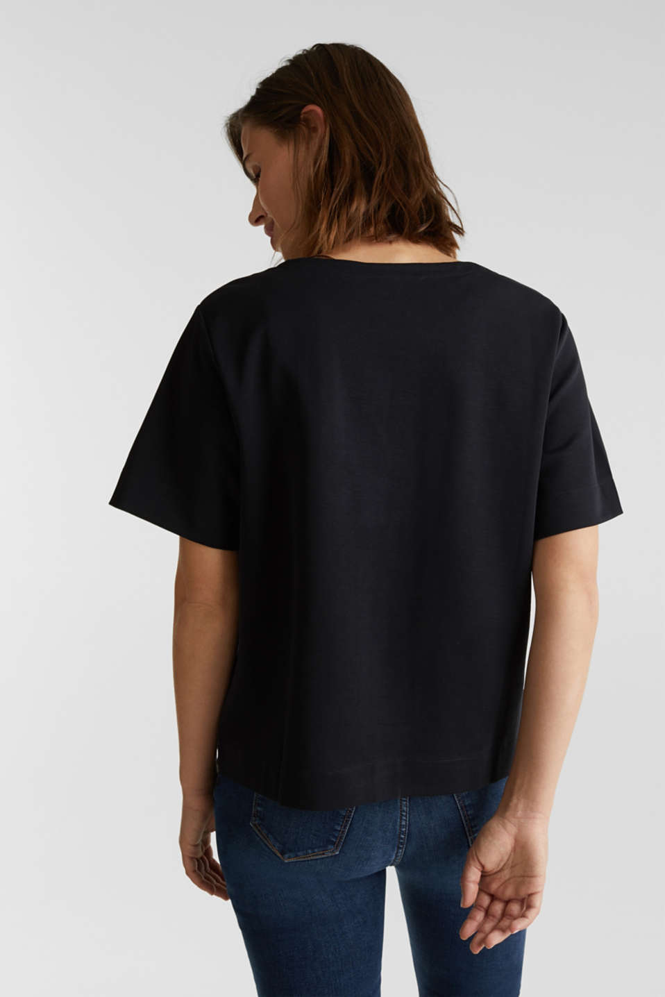 Printed stretch cotton T-shirt, BLACK, detail image number 3