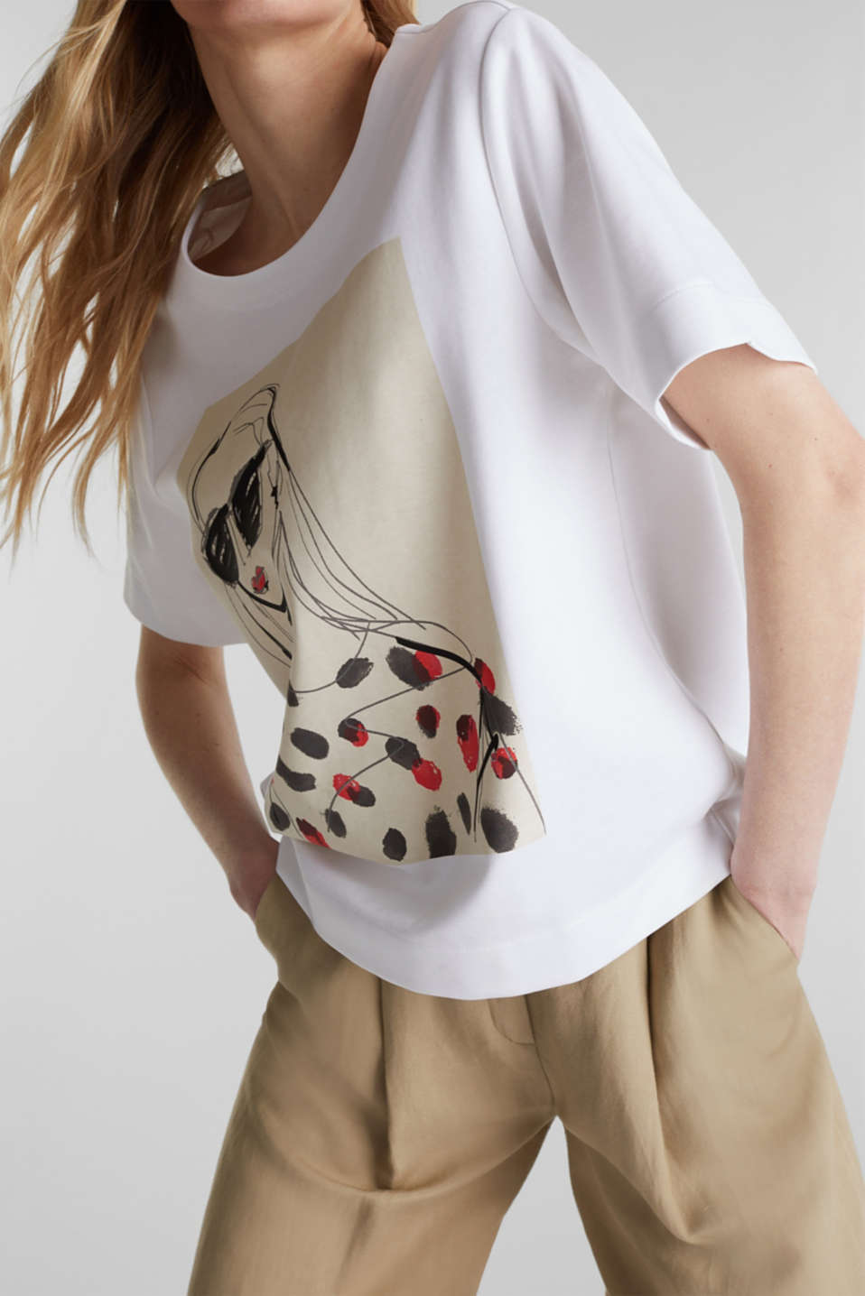 Printed stretch cotton T-shirt, WHITE, detail image number 4