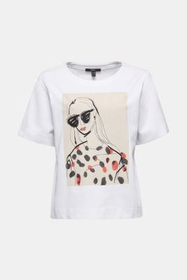 Printed stretch cotton T-shirt, WHITE, detail