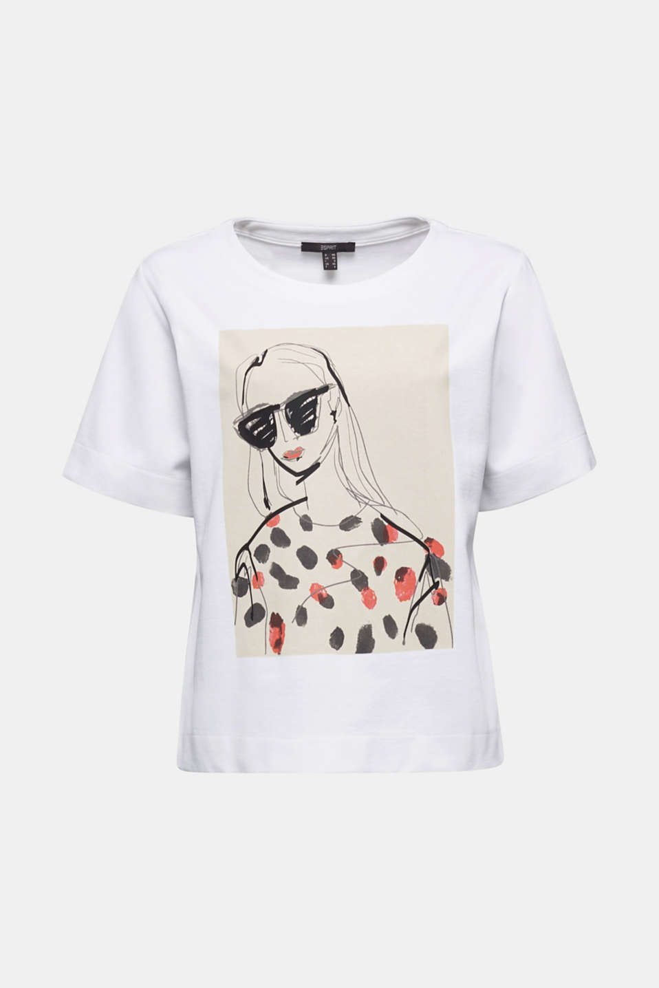 Printed stretch cotton T-shirt, WHITE, detail image number 6
