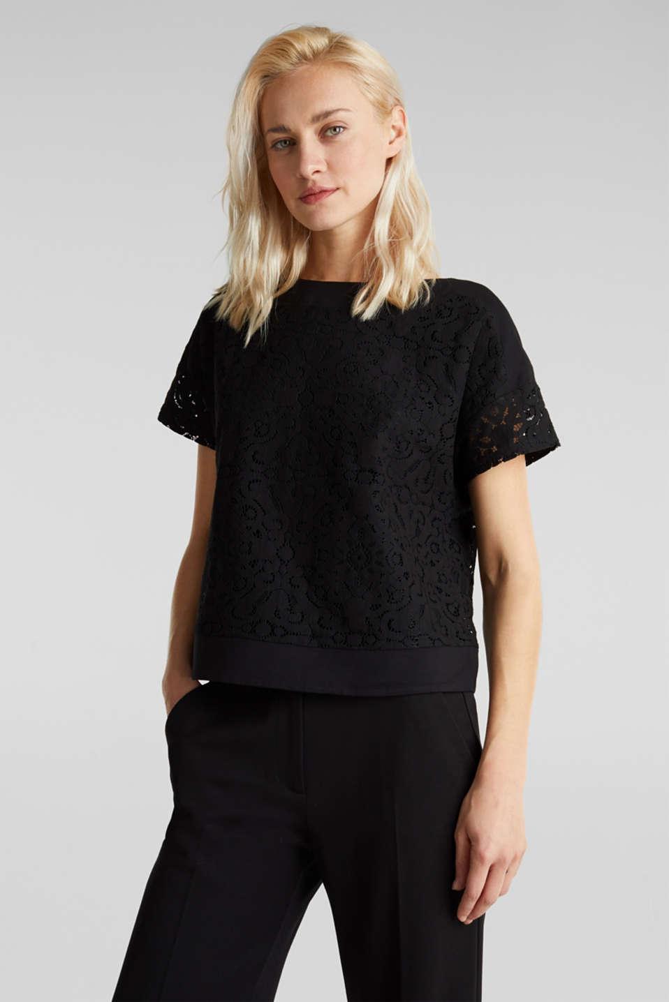 Floral lace blouse top, BLACK, detail image number 0