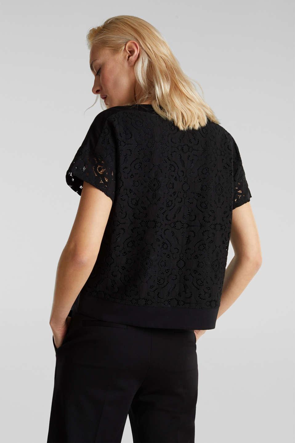 Floral lace blouse top, BLACK, detail image number 2