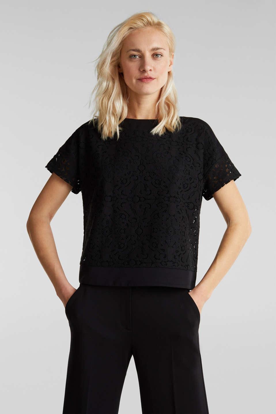 Floral lace blouse top, BLACK, detail image number 4