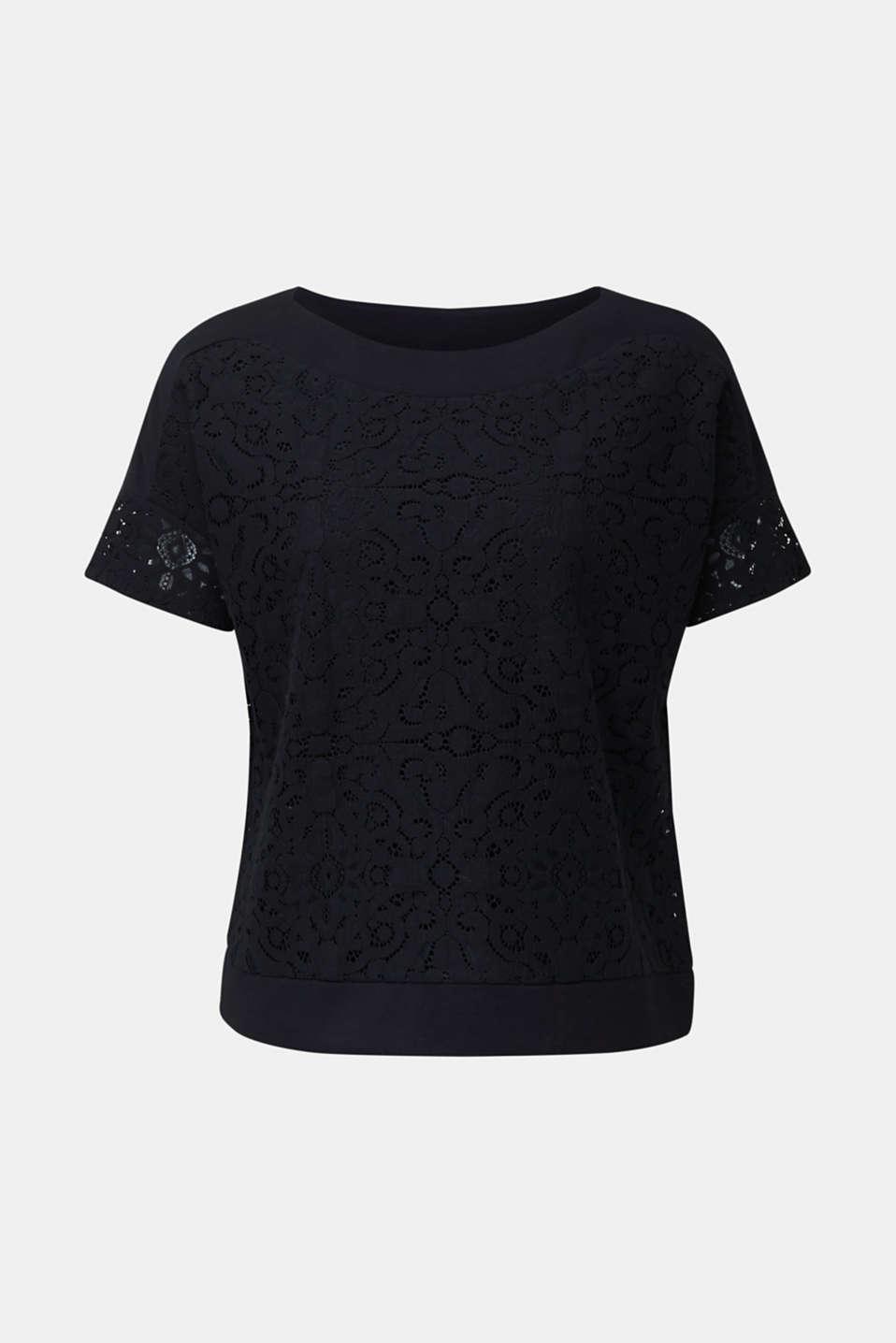 Floral lace blouse top, BLACK, detail image number 5