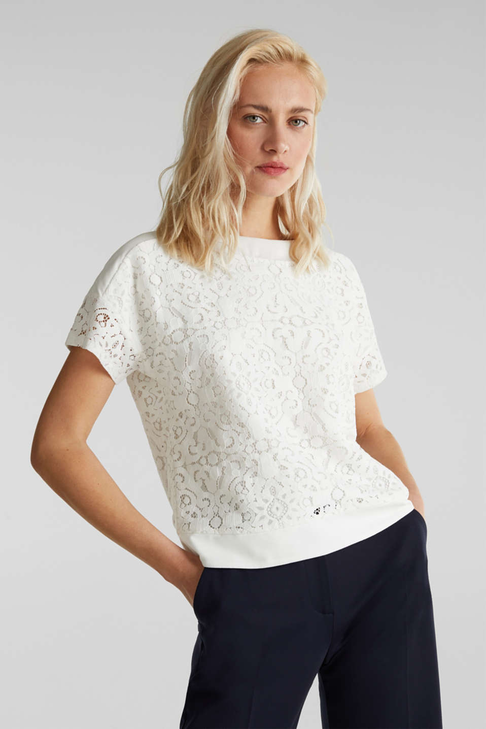 Floral lace blouse top, OFF WHITE, detail image number 0