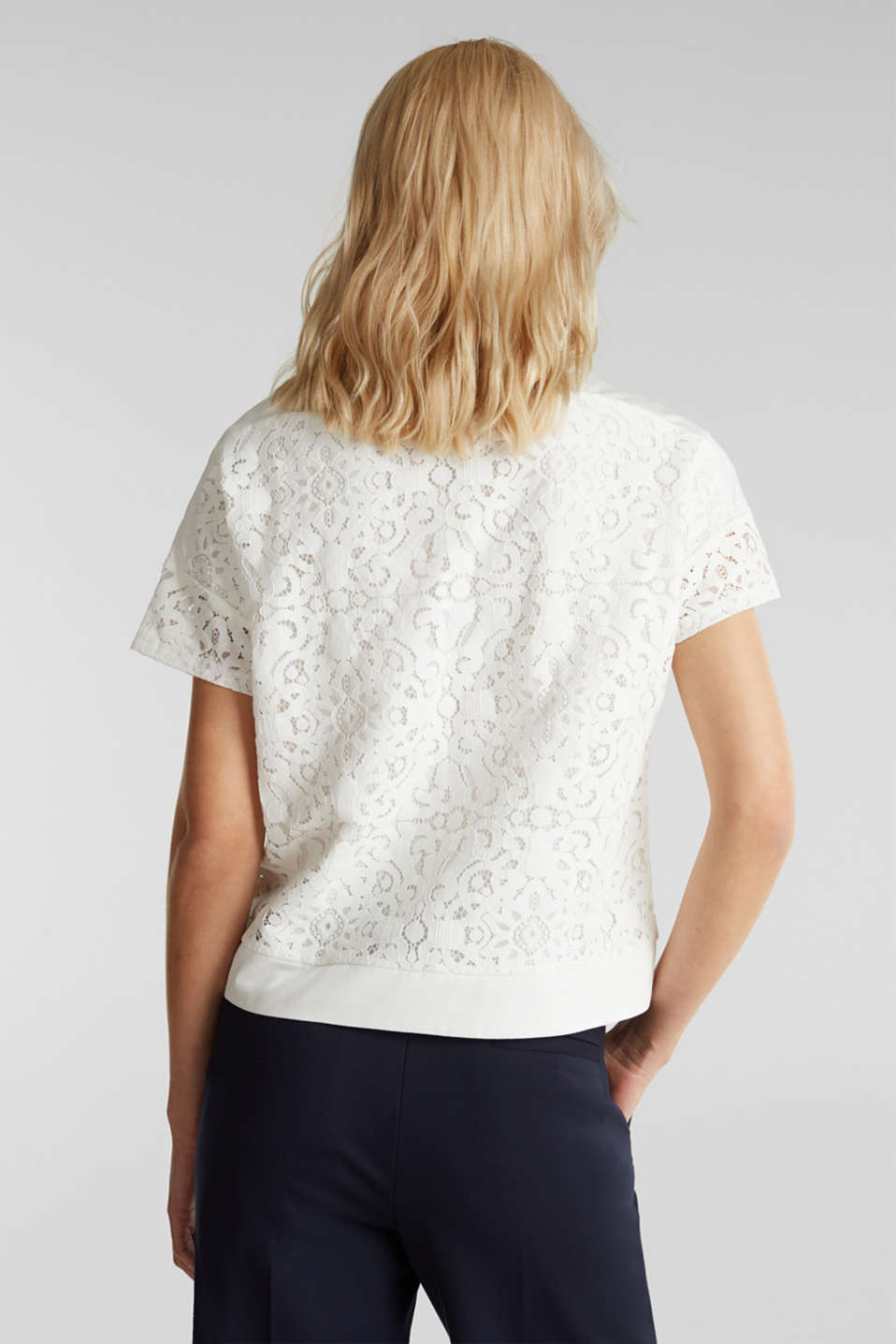 Floral lace blouse top, OFF WHITE, detail image number 3