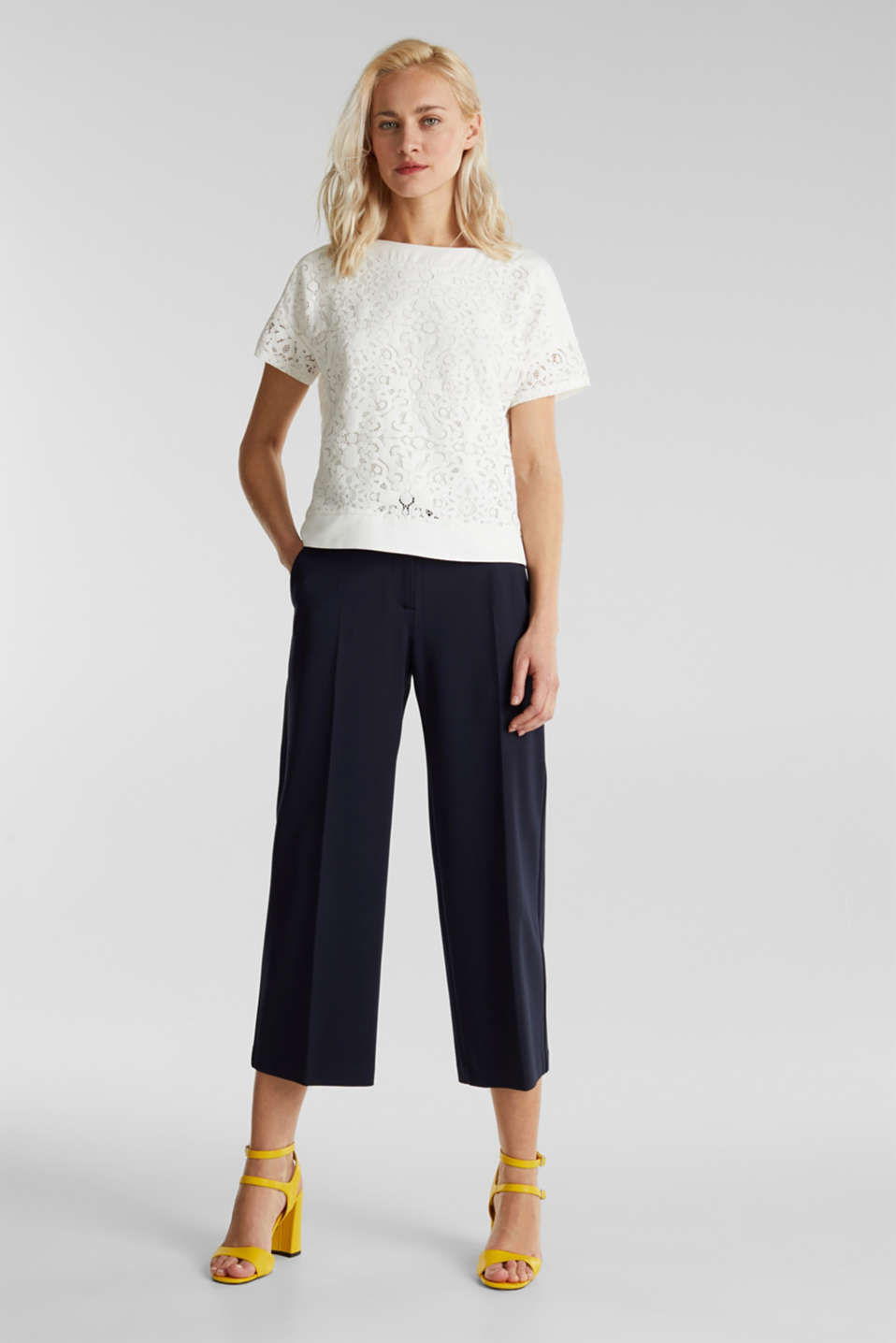 Floral lace blouse top, OFF WHITE, detail image number 1