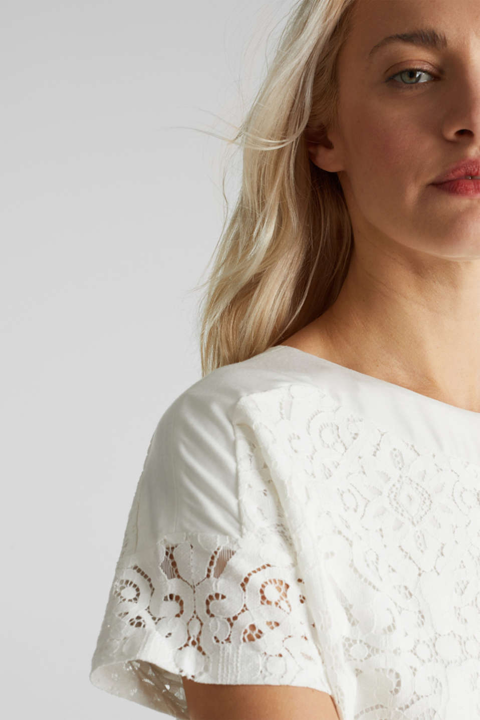 Floral lace blouse top, OFF WHITE, detail image number 2