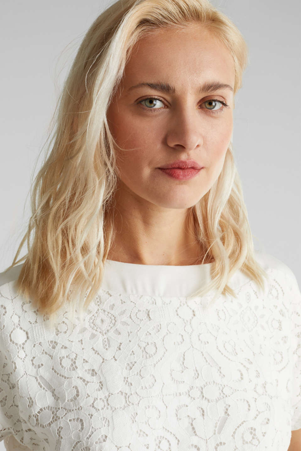 Floral lace blouse top, OFF WHITE, detail image number 5