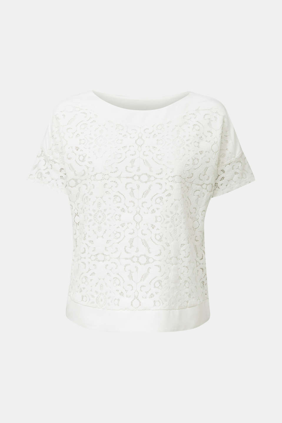 Floral lace blouse top, OFF WHITE, detail image number 6