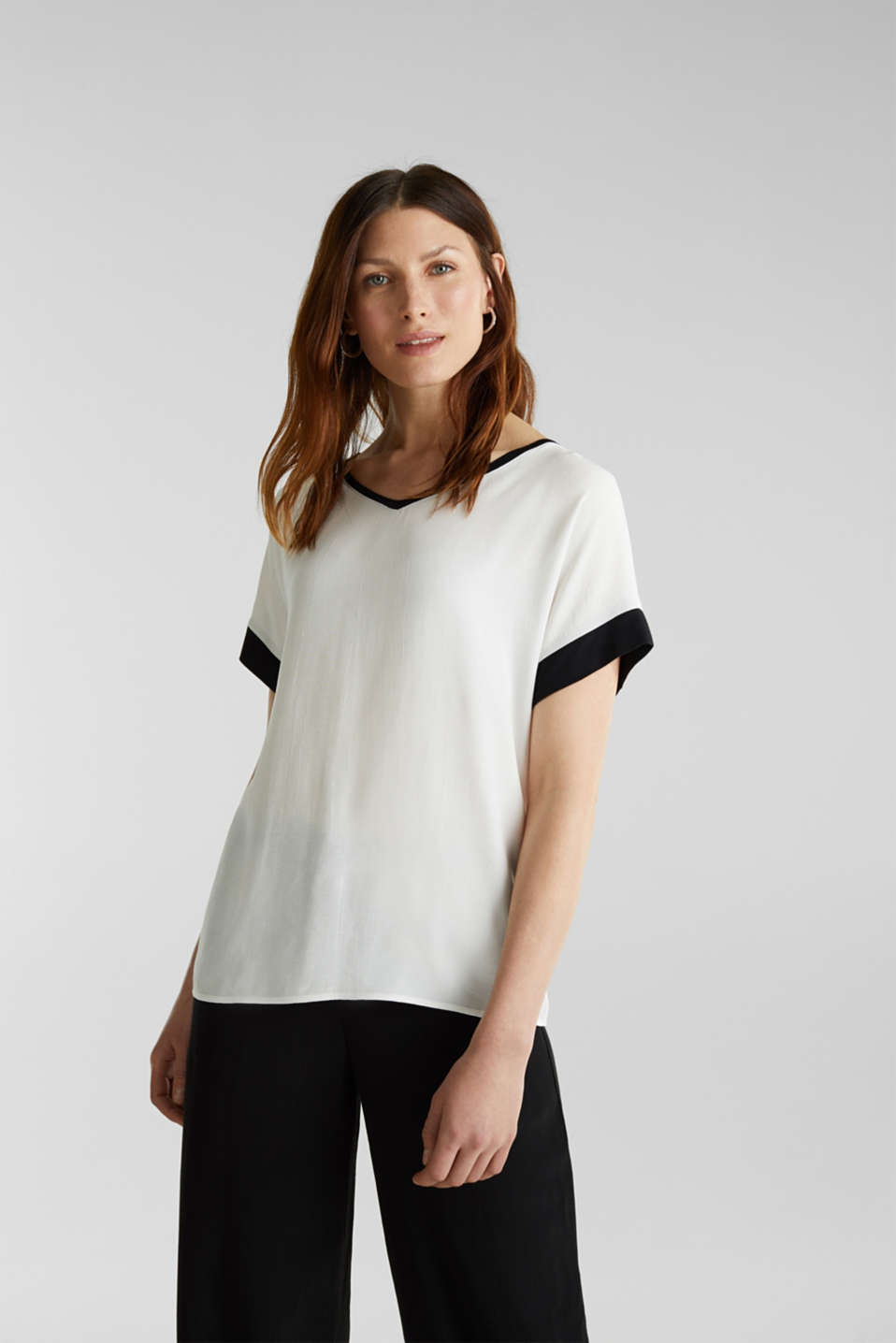 Blouse top with contrast details, OFF WHITE, detail image number 0
