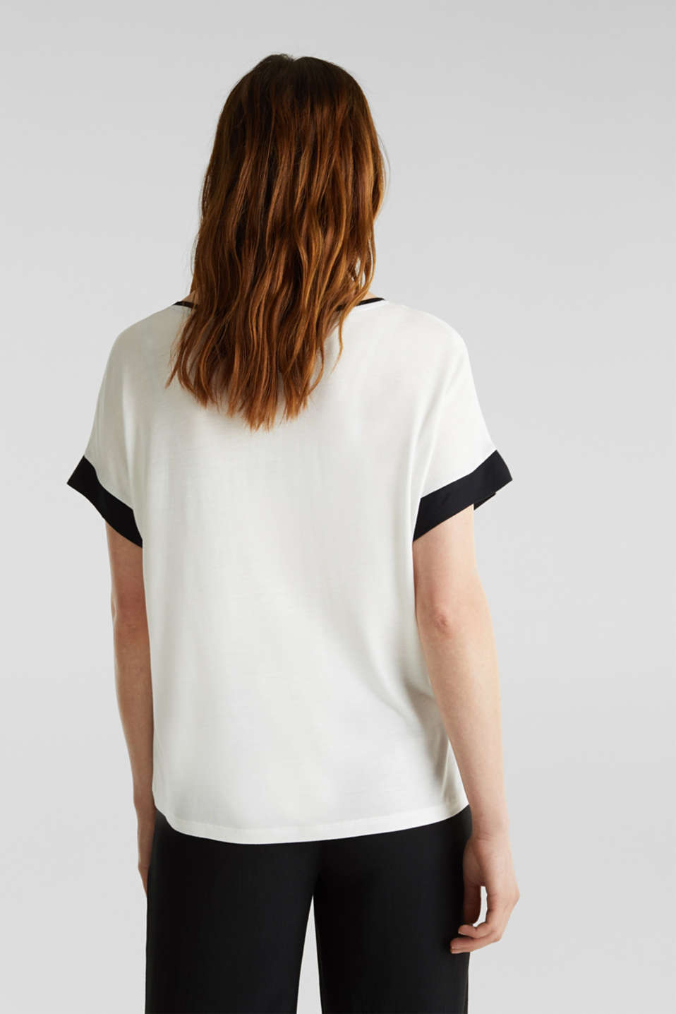 Blouse top with contrast details, OFF WHITE, detail image number 3