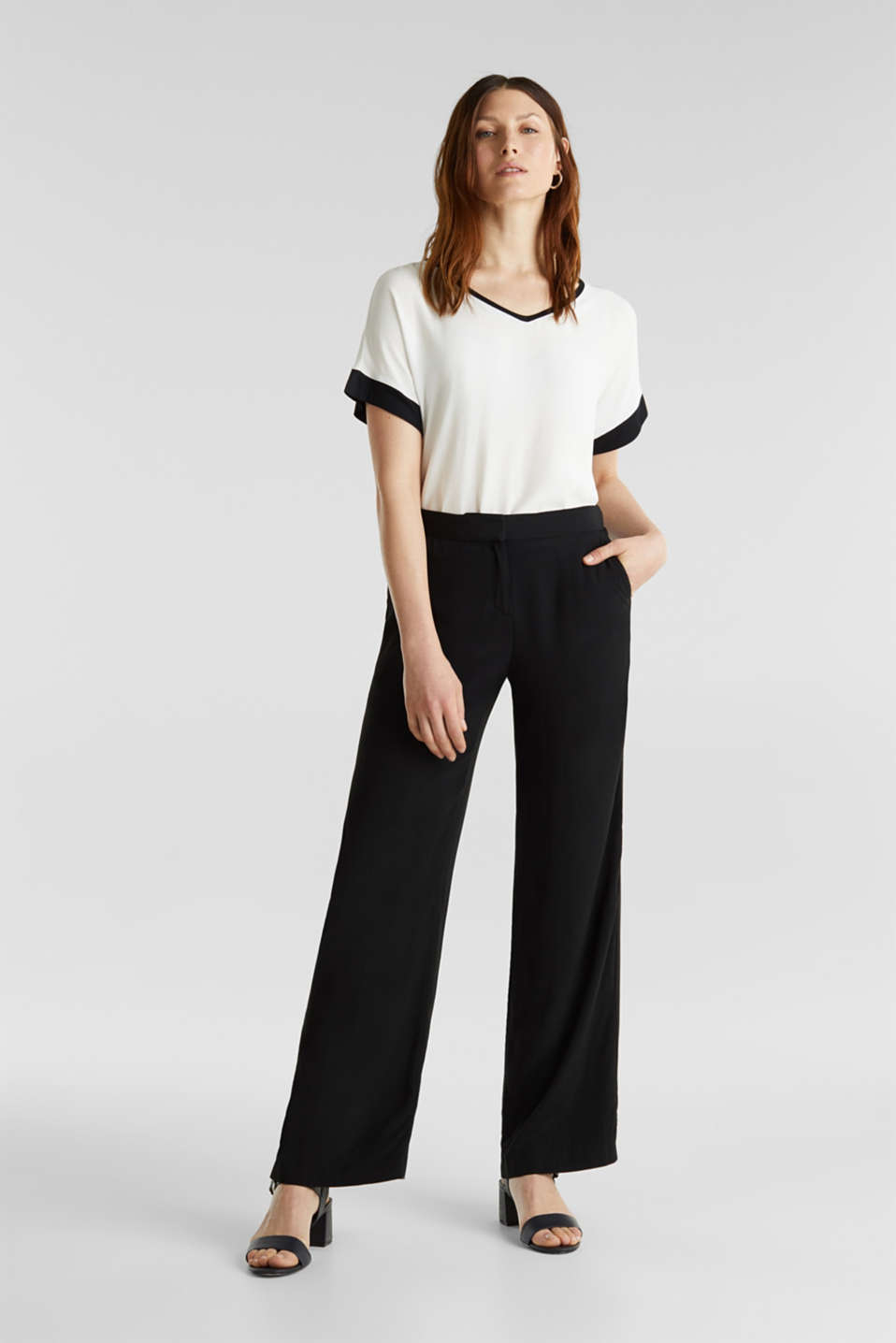 Blouse top with contrast details, OFF WHITE, detail image number 5