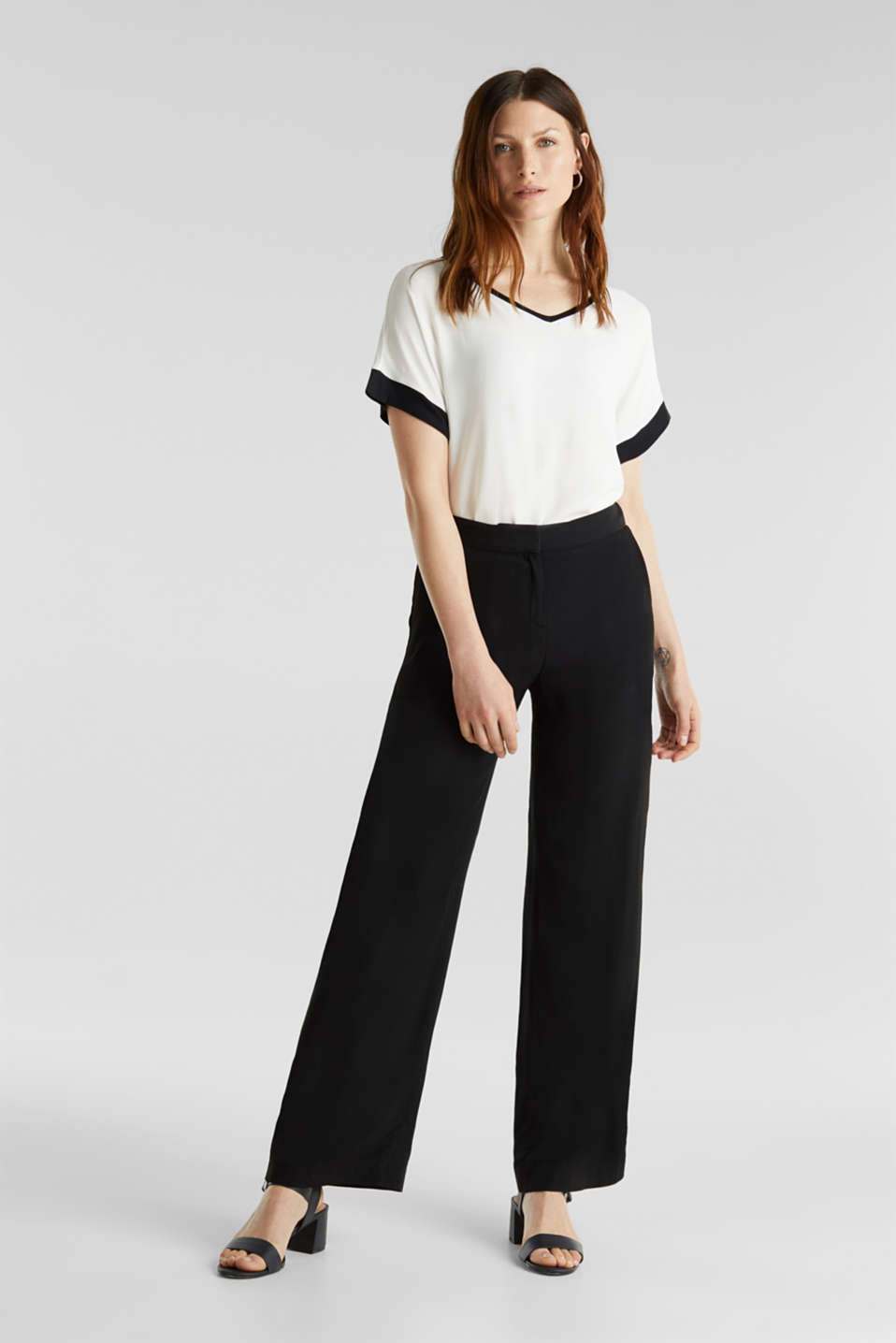 Blouse top with contrast details, OFF WHITE, detail image number 1