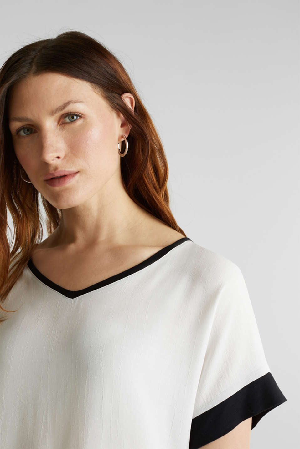 Blouse top with contrast details, OFF WHITE, detail image number 2