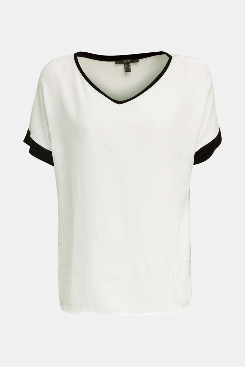 Blouse top with contrast details, OFF WHITE, detail image number 6