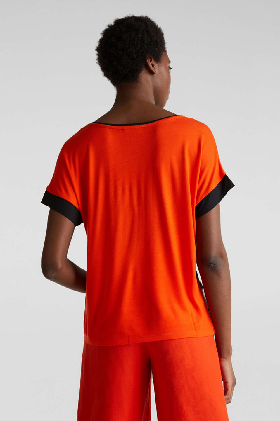 Blouse top in a mix of materials, RED ORANGE, detail image number 3