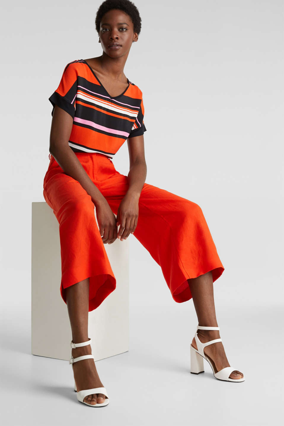 Blouse top in a mix of materials, RED ORANGE, detail image number 5