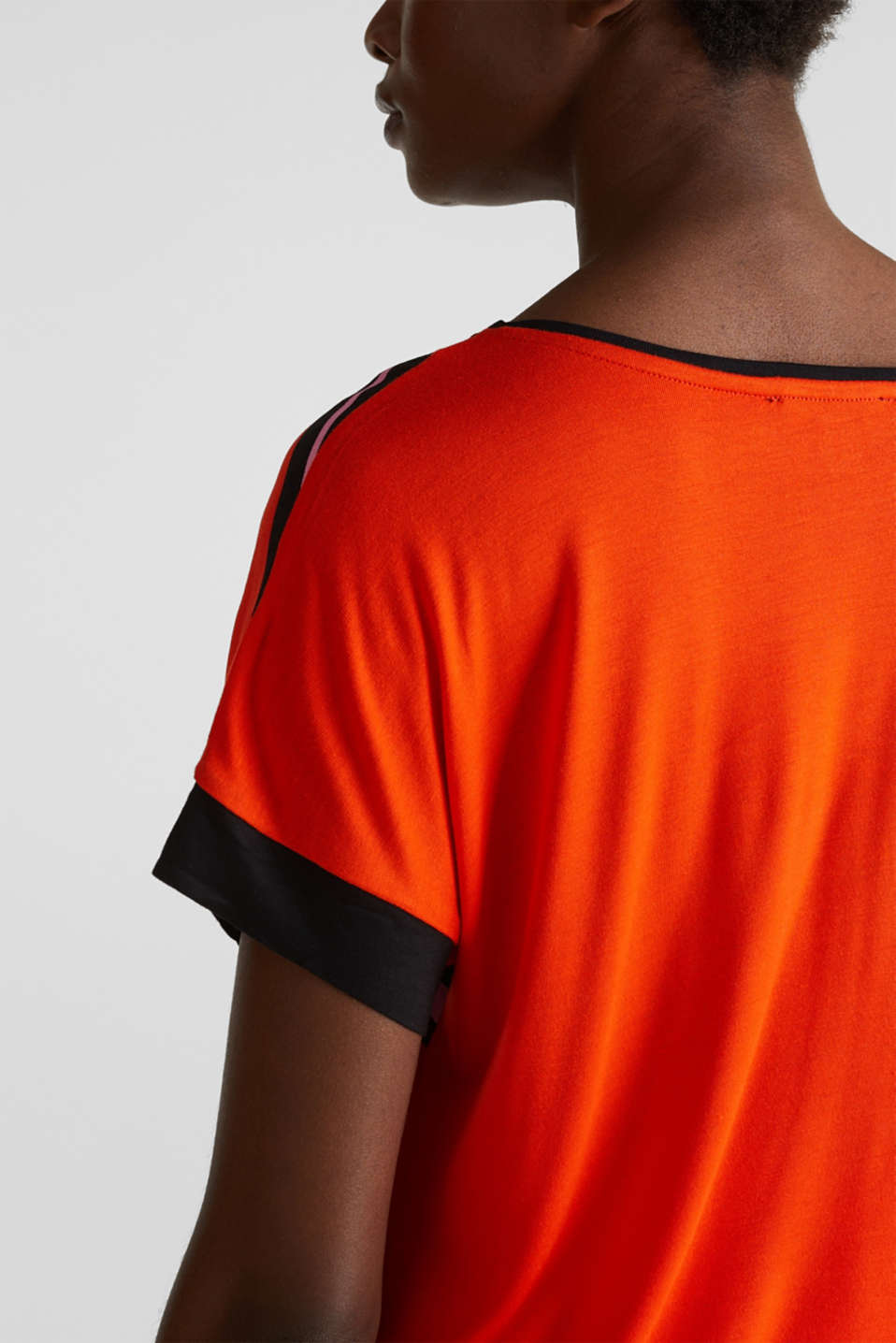 Blouse top in a mix of materials, RED ORANGE, detail image number 2