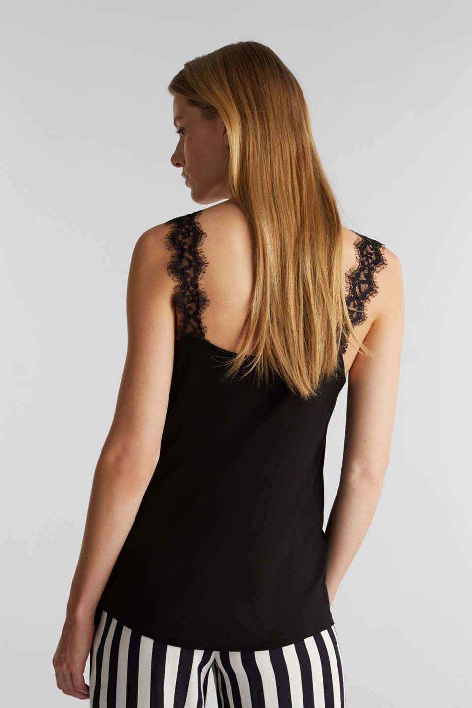 Jersey top with lace details, BLACK, detail image number 3