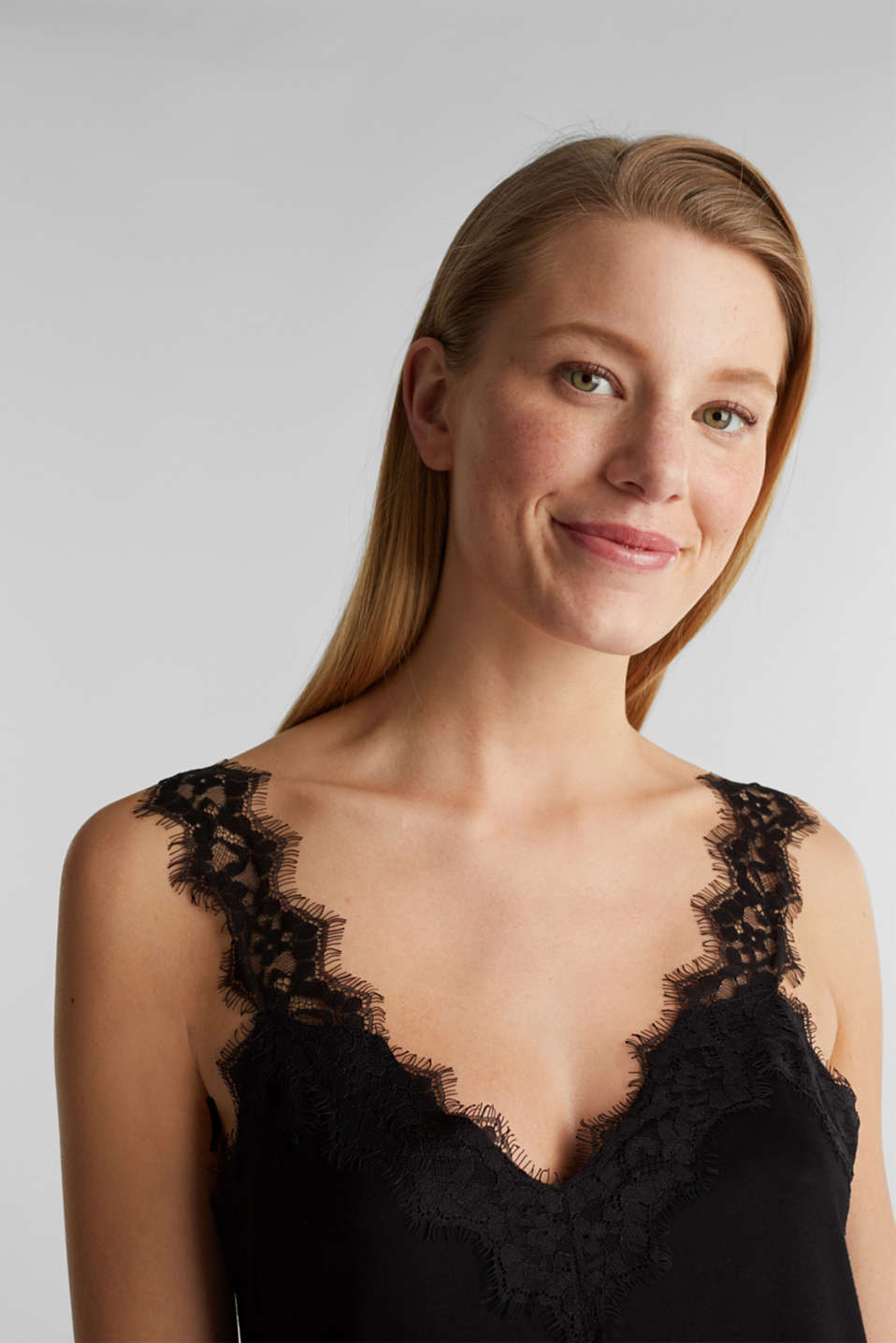 Jersey top with lace details, BLACK, detail image number 2