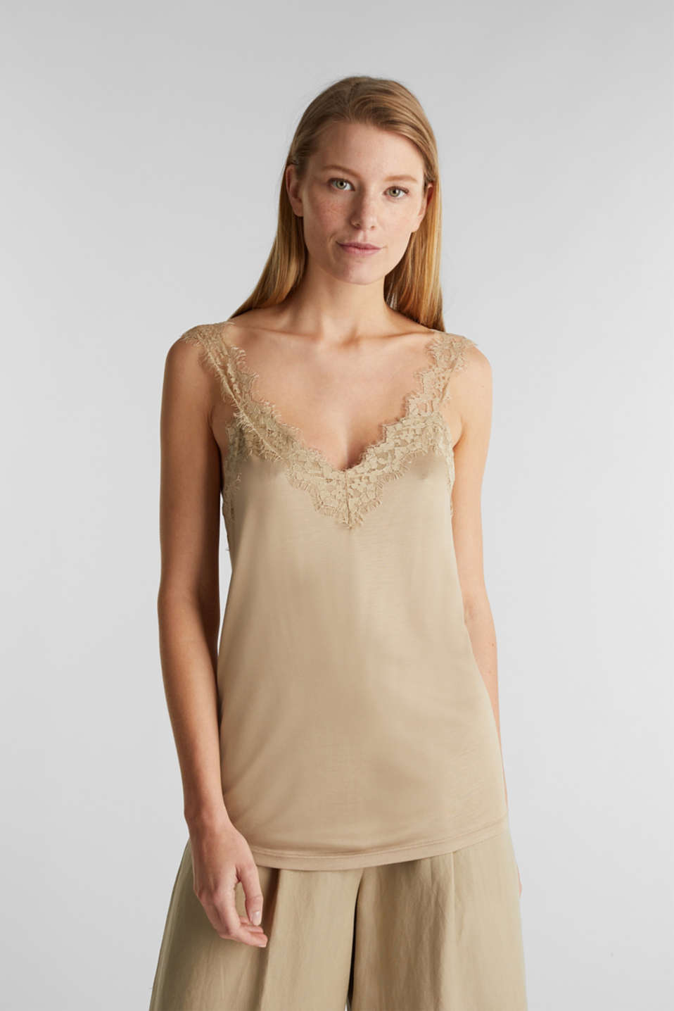 Jersey top with lace details, KHAKI BEIGE, detail image number 0