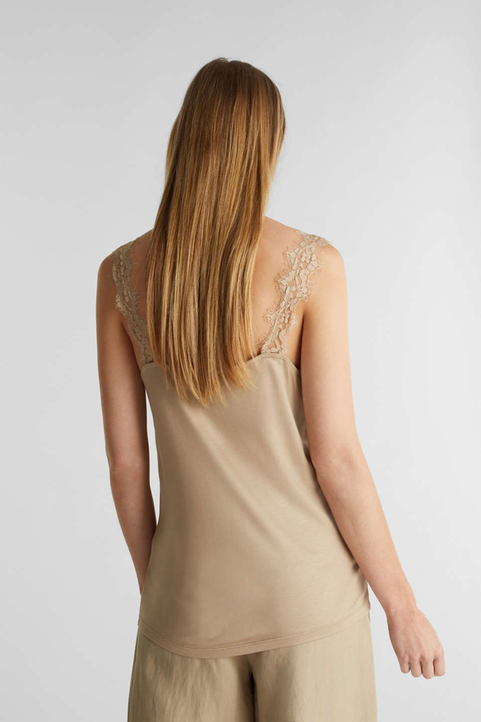Jersey top with lace details, KHAKI BEIGE, detail image number 3