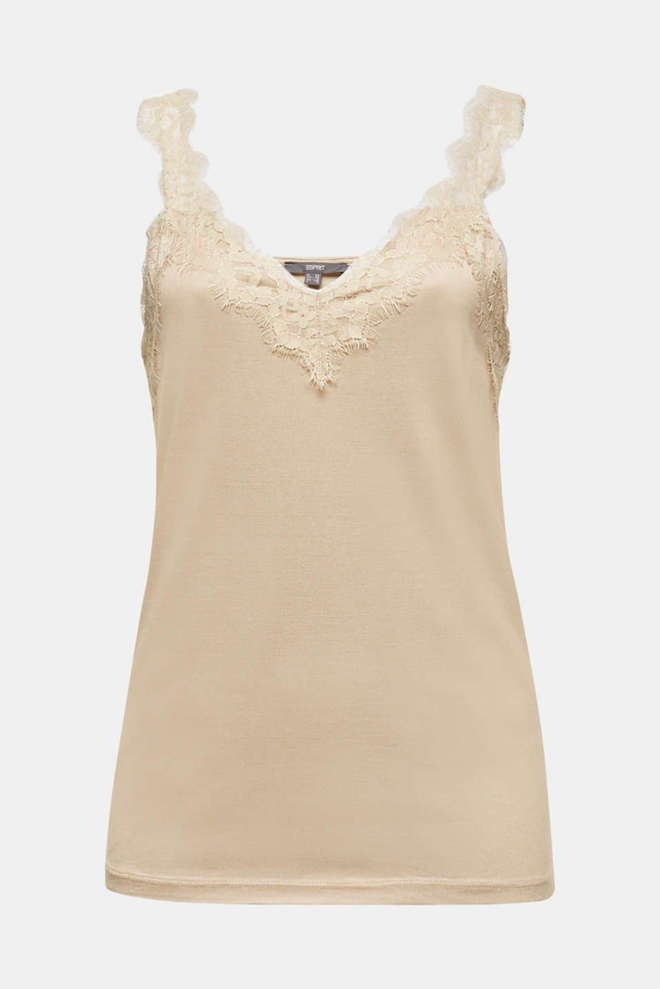 Jersey top with lace details, KHAKI BEIGE, detail image number 6
