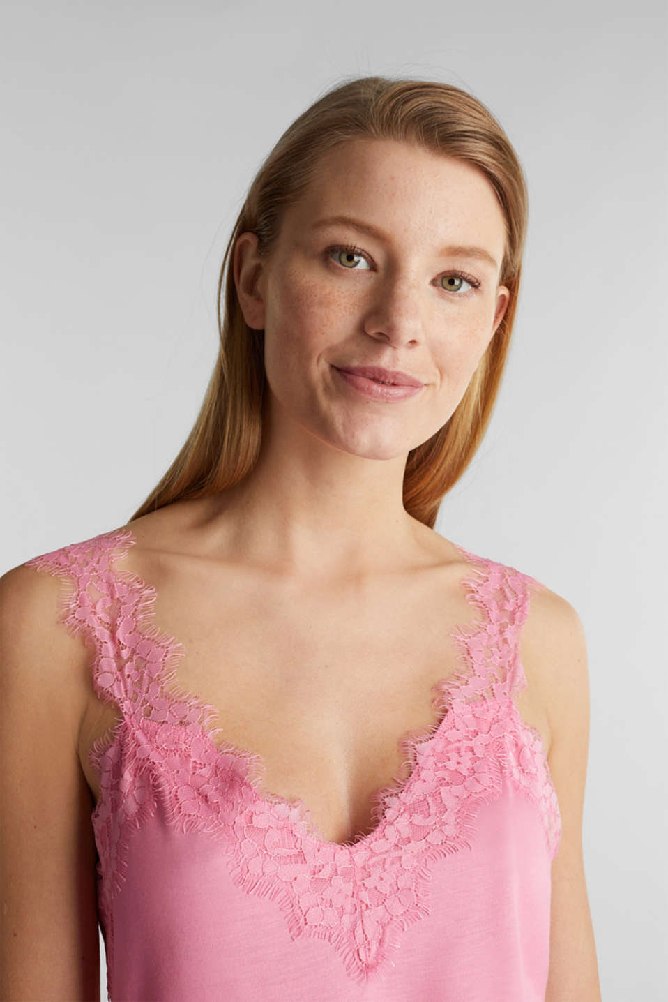 Jersey top with lace details, PINK, detail image number 2