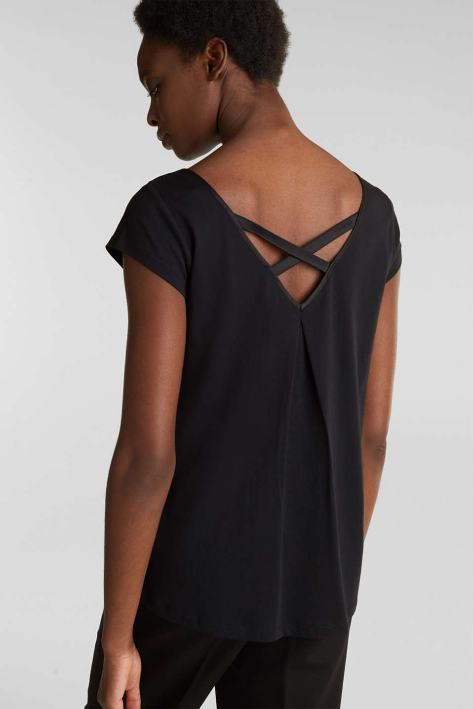 Top with crossed-over satin ties, BLACK, detail image number 2
