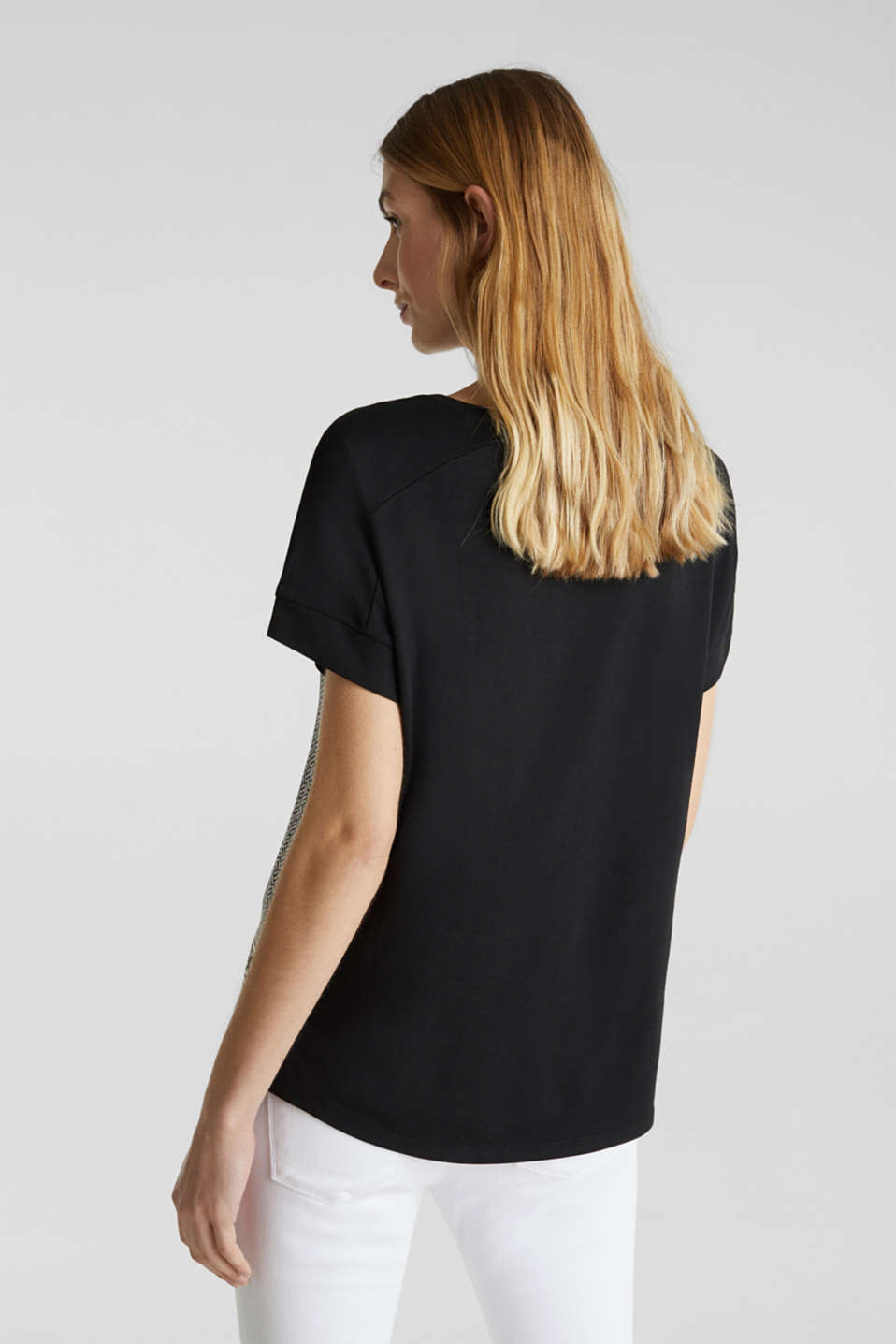 Blouse top in a mix of materials, BLACK 3, detail image number 3