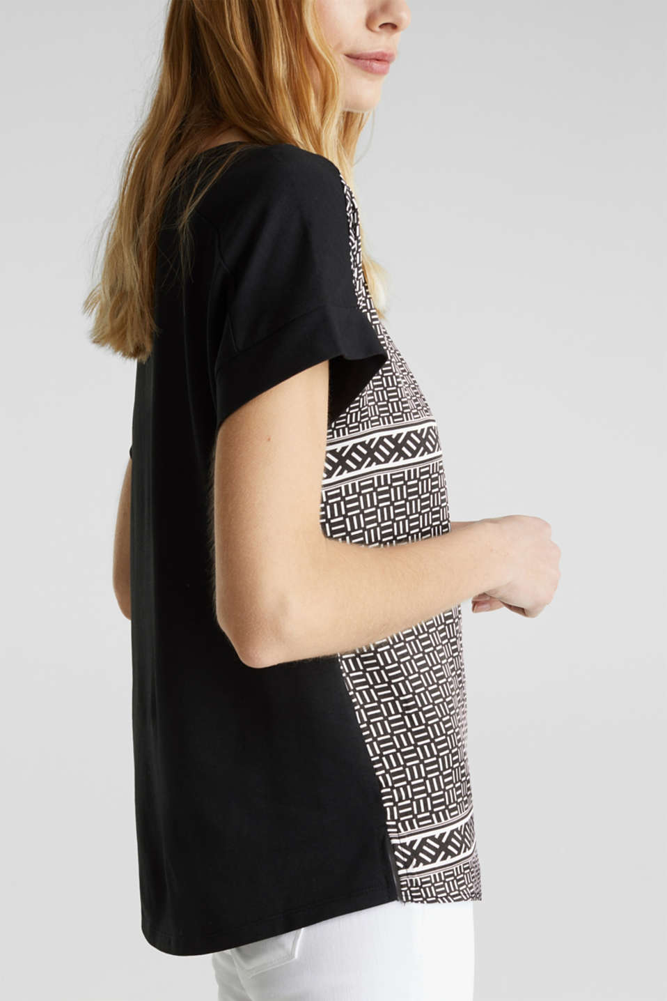 Blouse top in a mix of materials, BLACK 3, detail image number 5