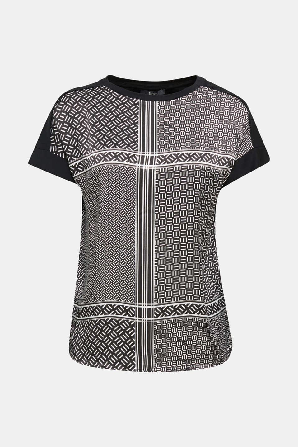 Blouse top in a mix of materials, BLACK 3, detail image number 6