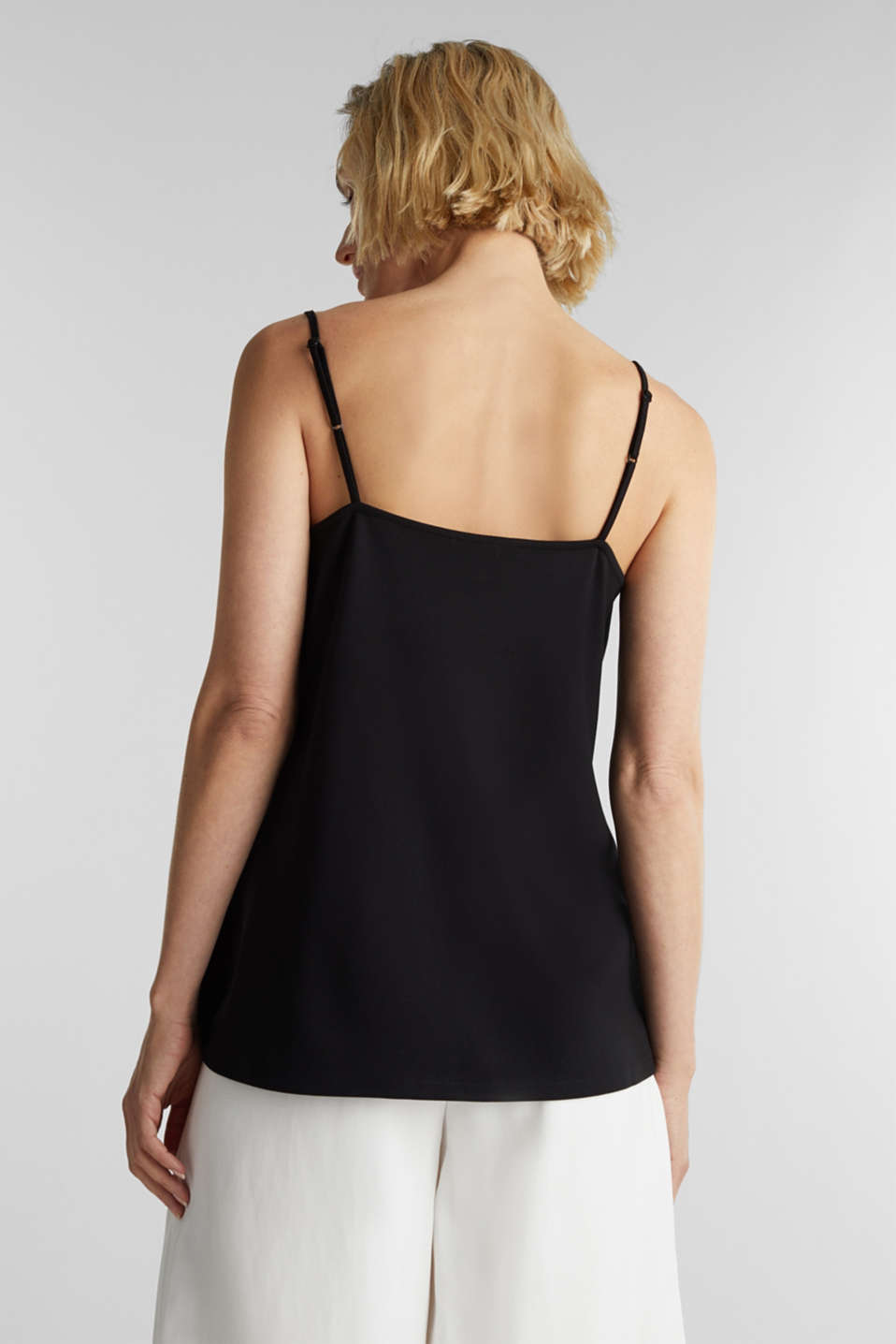 Stretch jersey top with a scalloped edge, BLACK, detail image number 3