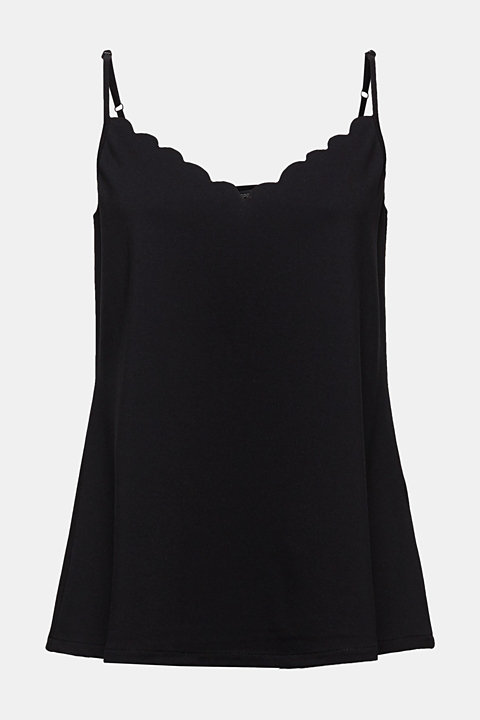 Stretch jersey top with a scalloped edge