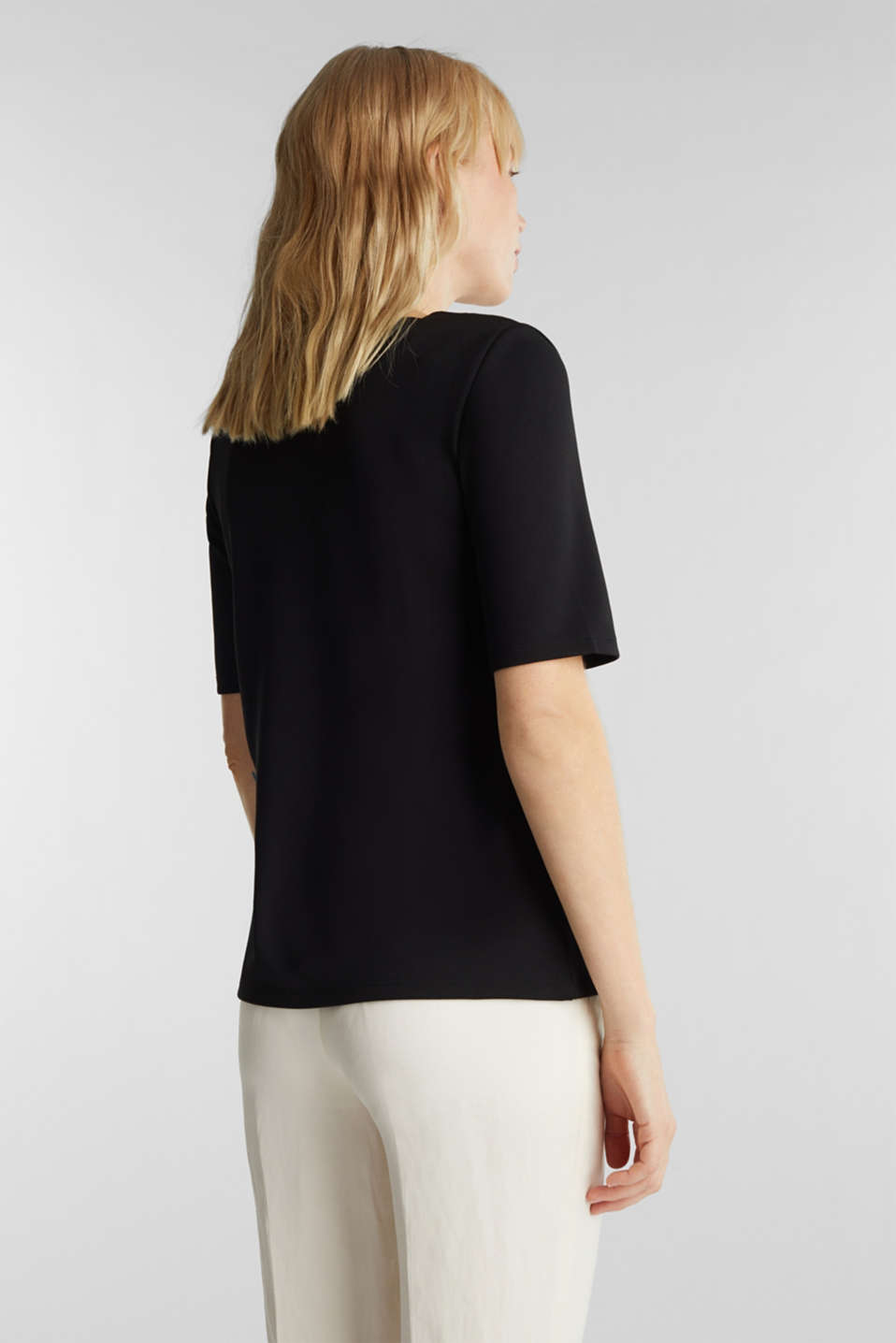 Stretch top with scalloped edges, BLACK, detail image number 3