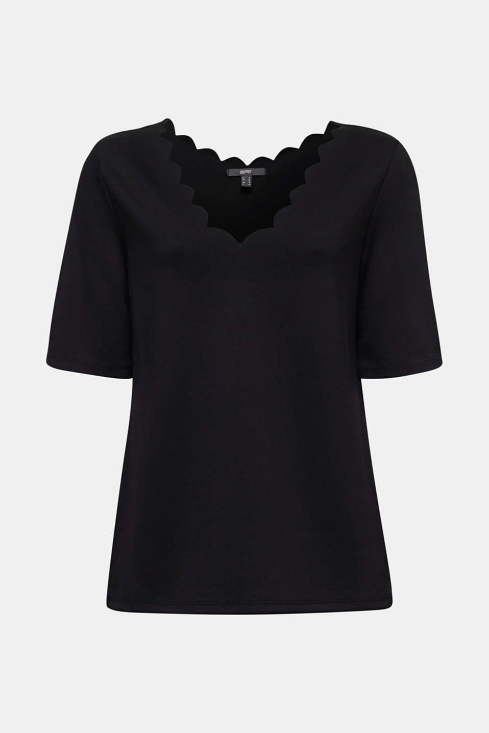 Stretch top with scalloped edges, BLACK, detail image number 6