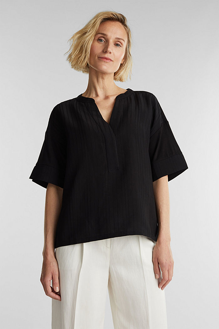 Mix of material T-shirt in a blouse style, BLACK, detail image number 0