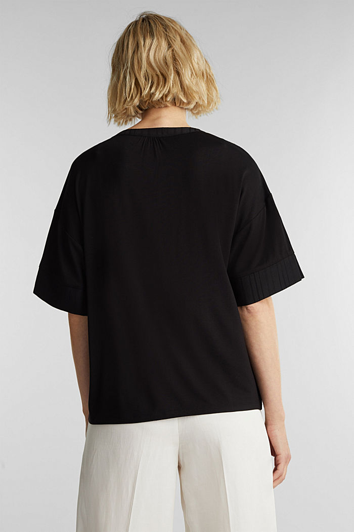 Mix of material T-shirt in a blouse style, BLACK, detail image number 3