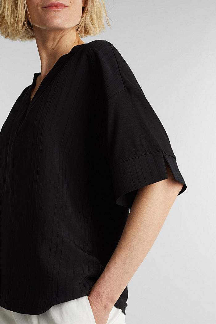 Mix of material T-shirt in a blouse style, BLACK, detail image number 2