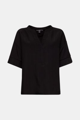 Mix of material T-shirt in a blouse style, BLACK, detail