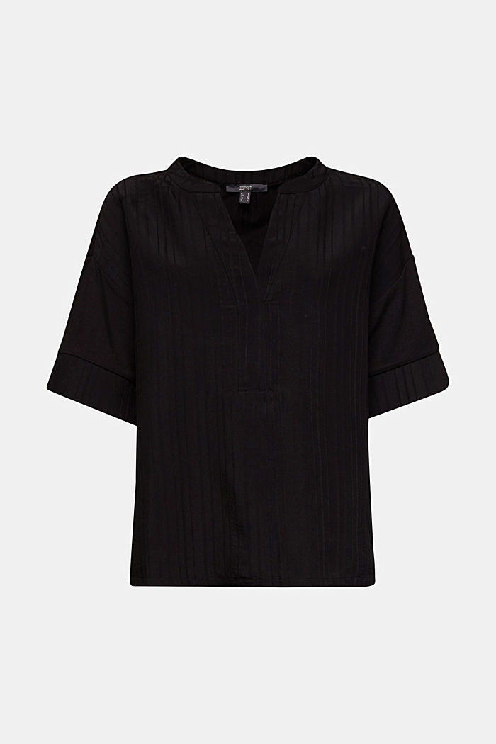 Mix of material T-shirt in a blouse style, BLACK, detail image number 5
