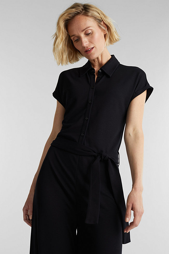 Jersey dungarees with a belt, BLACK, detail image number 0