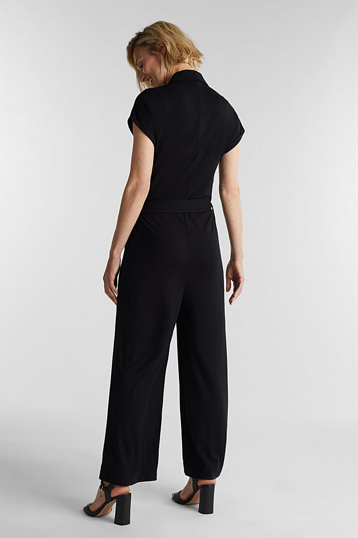 Jersey dungarees with a belt, BLACK, detail image number 2