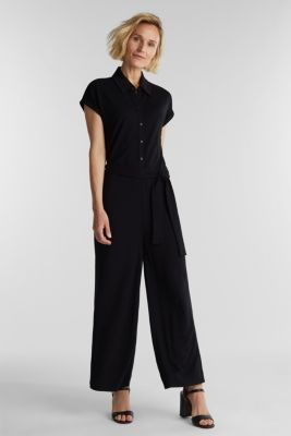 Jersey dungarees with a belt, BLACK, detail
