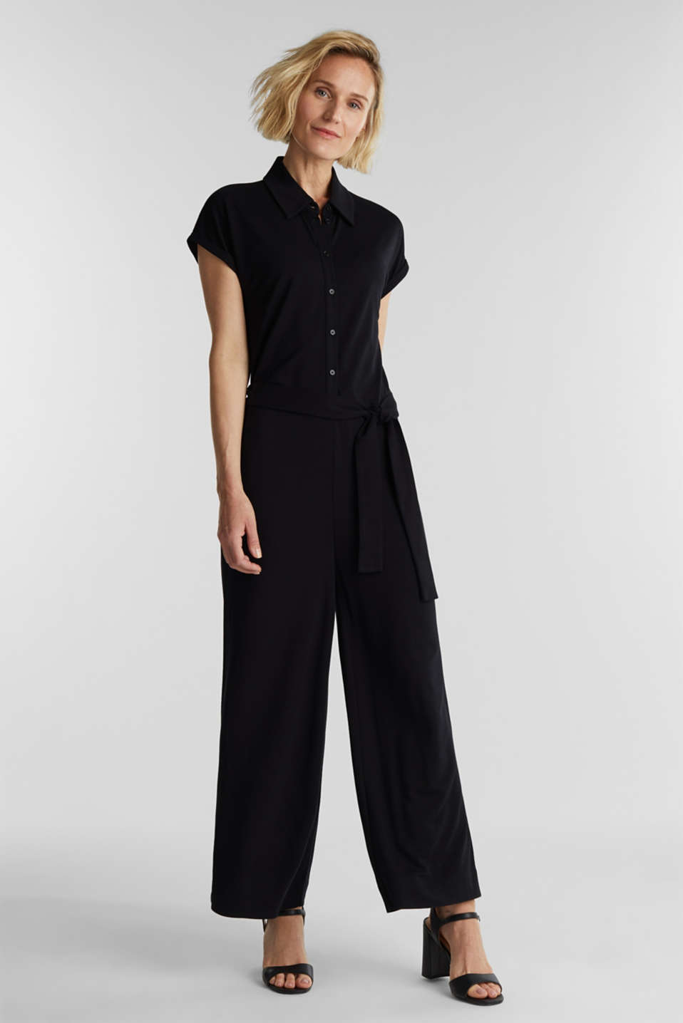 Jersey dungarees with a belt, BLACK, detail image number 1