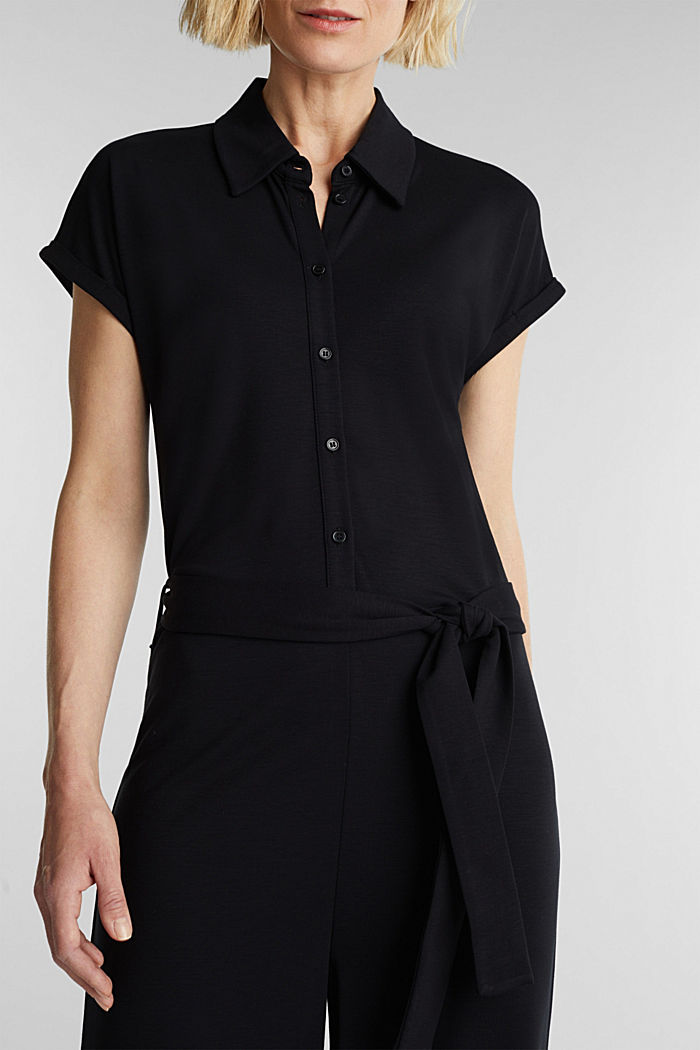 Jersey dungarees with a belt, BLACK, detail image number 3