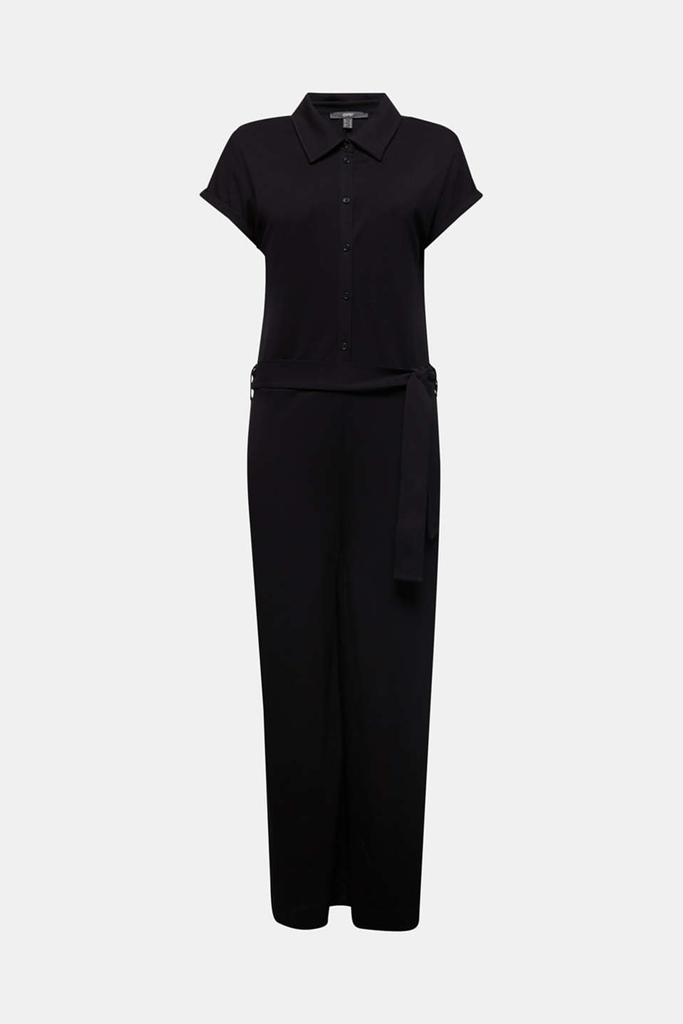 Jersey dungarees with a belt, BLACK, detail image number 6