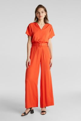 Jumpsuit made of LENZING™ ECOVERO™, RED ORANGE, detail