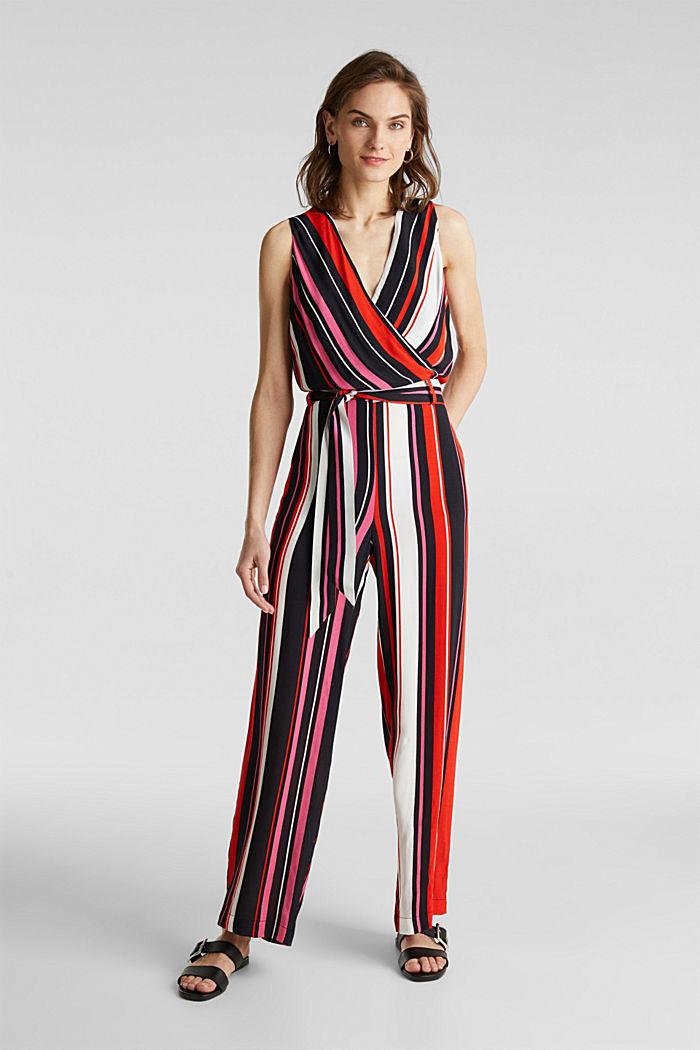 Wrap-look crêpe jumpsuit, BLACK, detail image number 0